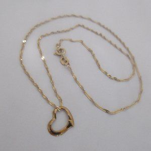 10k gold chain necklace floating heart pendant